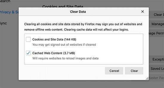 مسح ذاكرة التخزين المؤقت للمتصفح