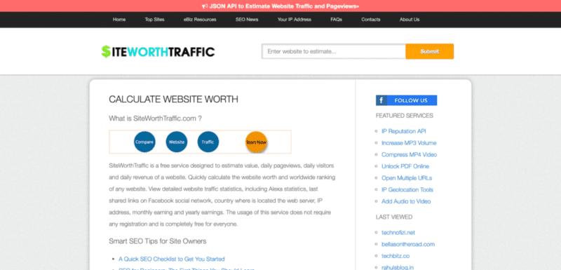قيمة موقعك الالكتروني